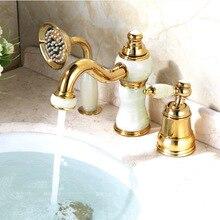Badewanne Wasserhahn Messing Gold Deck Waschbecken Wasserhahn Set 3 STÜCKE Keramik Diamant Handbrause Waschraum Becken Mischbatterie 5632 Karat