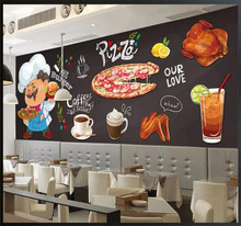цены Custom wallpaper mural hand-painted HD restaurant pizza shop burger shop background wall - high-grade wall cloth