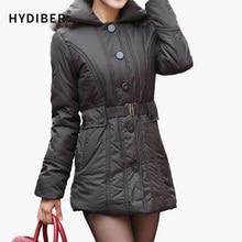 2015 Winter Long Jacket Women Coat Single Breasted Outerwear Elastic Sashes Cotton-Padded Solid Cotton Coat Jacket Z108
