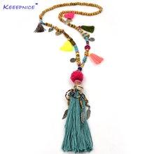 Женское ожерелье с подвеской длинное кисточками и бусинами подвески