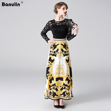 Banulin Fashion Runway Spring Summer Long Sleeve Dress Womens Vintage Gold Print Patchwork Black Lace Party Maxi Dresses