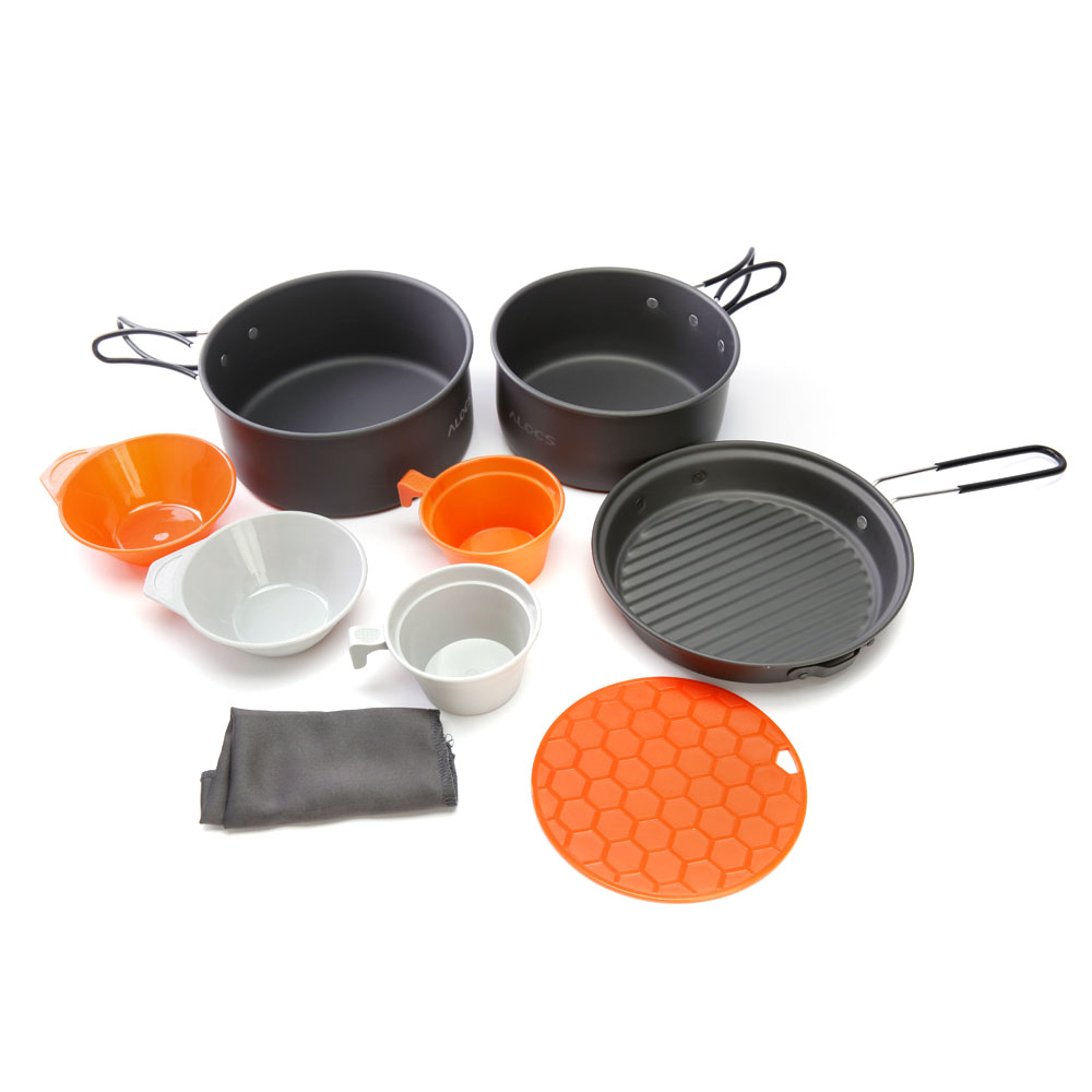 high quality alocs 9pcs cooking set outdoor portable