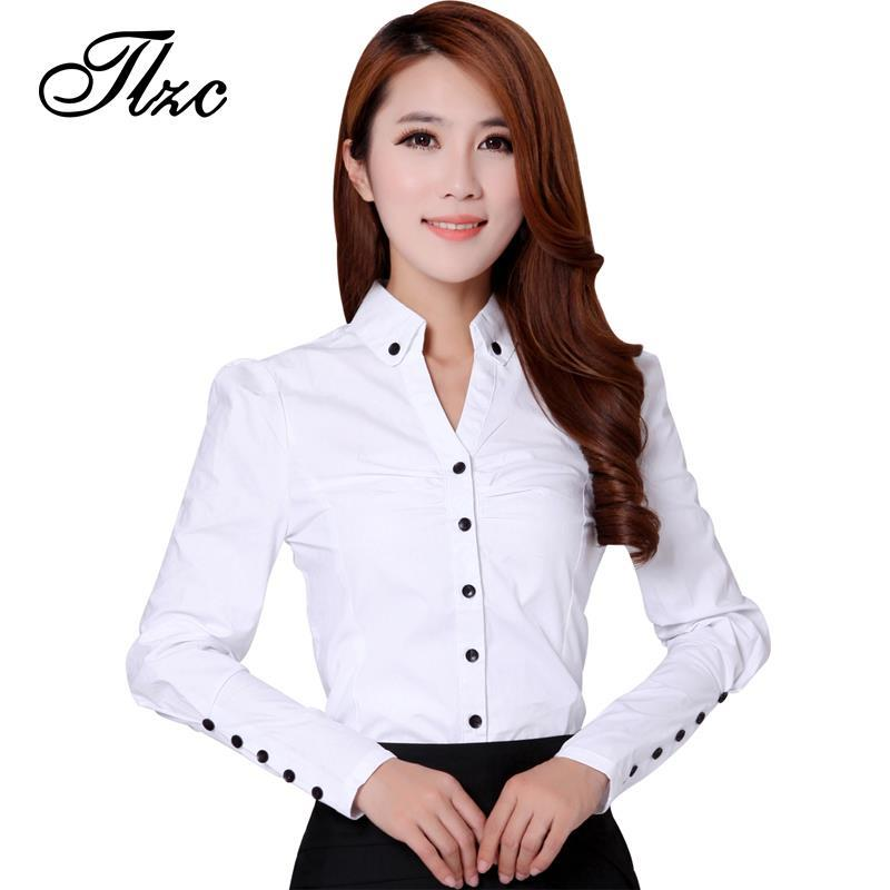 Tlzc 3 Colors Office Lady Formal Blouses 2017 New Professional Clothing Size S 2xl Korea Fashion Women Ol Slim Work Shirts In From