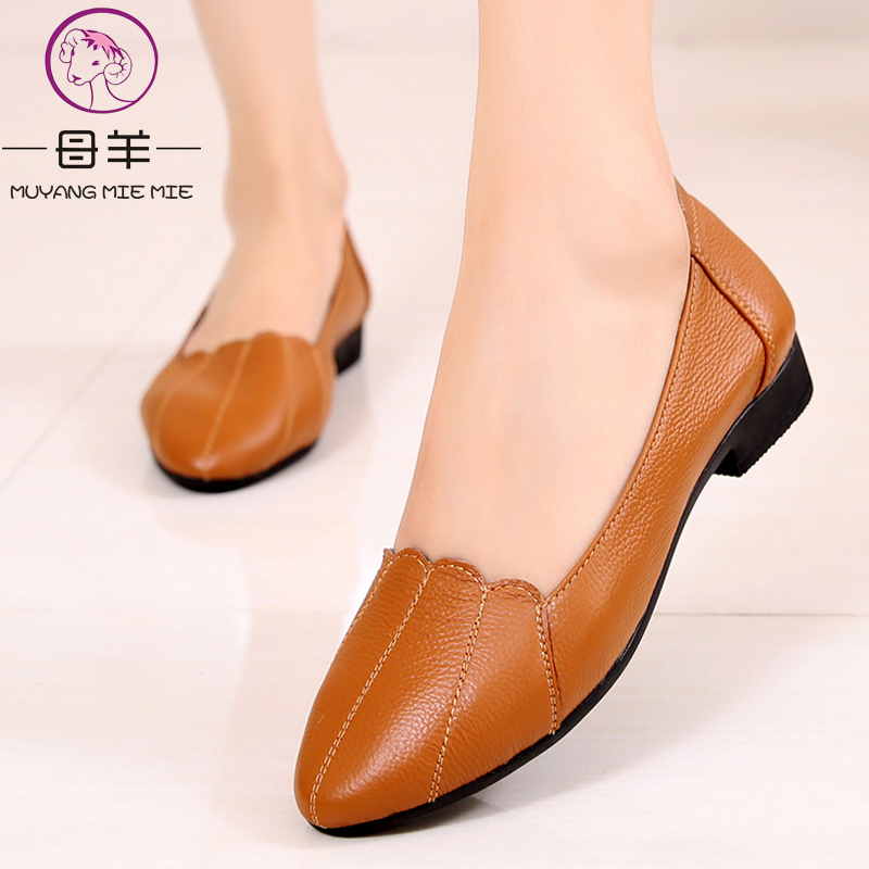 MUYANG MIE MIE Women Shoes Woman Genuine Leather Flat Shoes Female Casual Work Ballet Flats Women Flats Larger size ladies shoes 2018 new boat shoes sheepskin leather pregnant women shoes summer flat bowknots royal blue plus size 40 41 ballet flats female