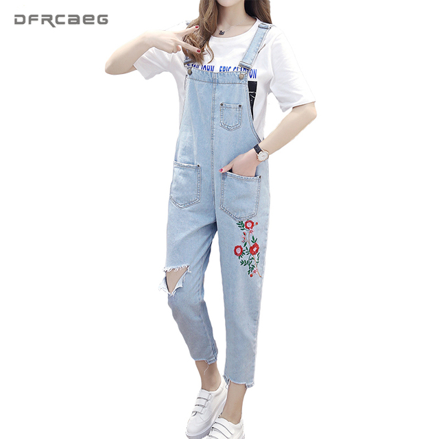 811c0f655d09 Strapless Rompers Womens Jumpsuit 2018 Spring Dungarees For Women  Embroidery Flowers Bodysuit Hole Ripped Jeans Washed