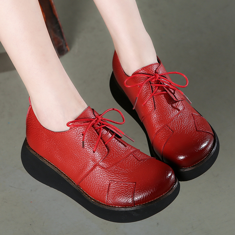 GKTINOO Women Genuine Leather Shoes Spring 2019 Casual Shoes Lace Up 6CM High Heels Wedge Shoes