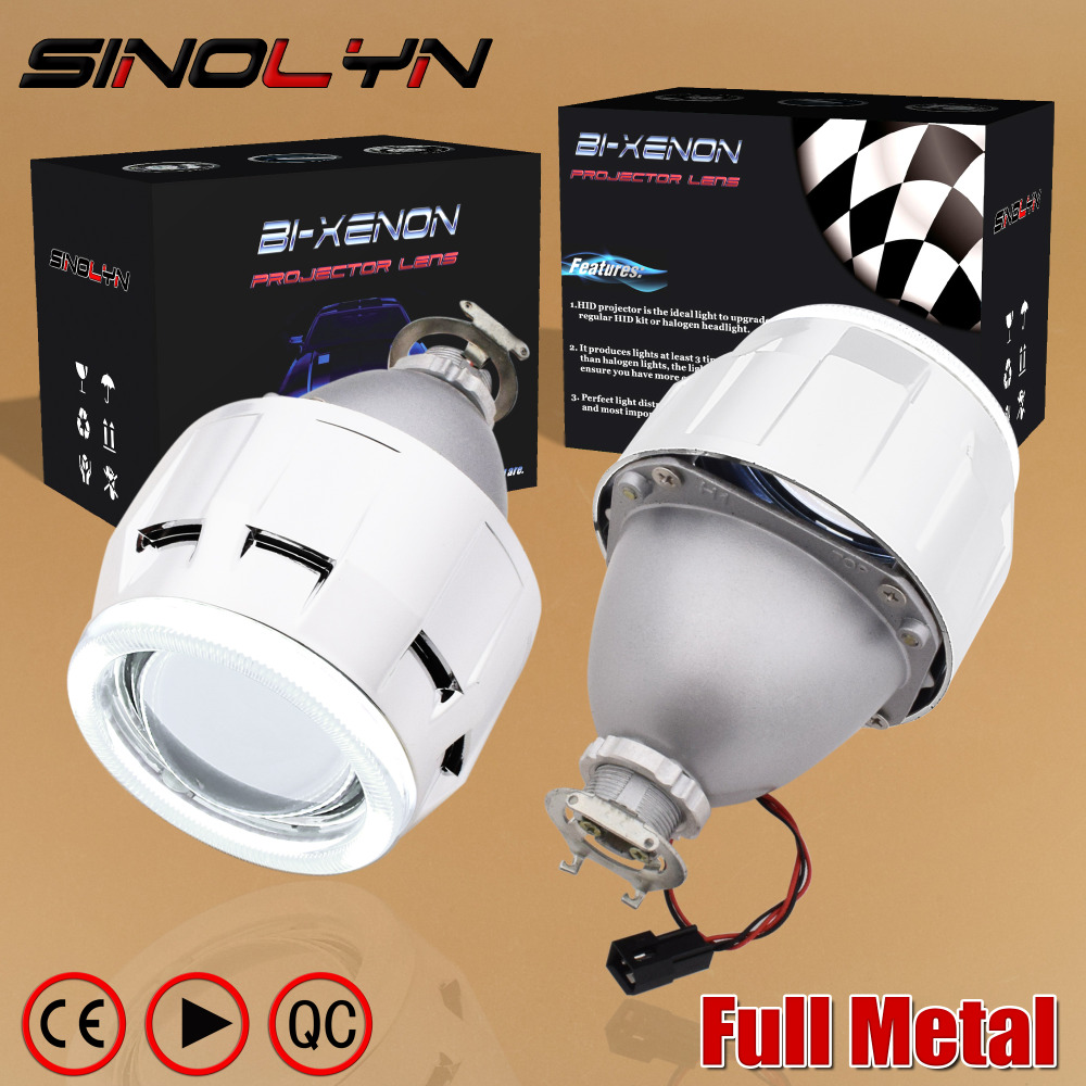 SINOLYN Upgrade Metal 2.5 inch Leader HID Bixenon Projector Headlight Lens W/ COB LED Angel Devil Eyes Halo H1 H4 H7 Retrofit royalin car styling hid h1 bi xenon headlight projector lens 3 0 inch full metal w 360 devil eyes red blue for h4 h7 auto light