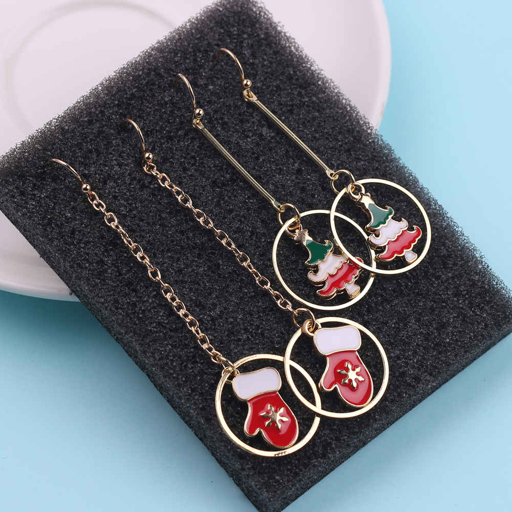 christmas jewelry accessories earrings cute santa claus snowman lovely tree bell romantic christmas gifts for women