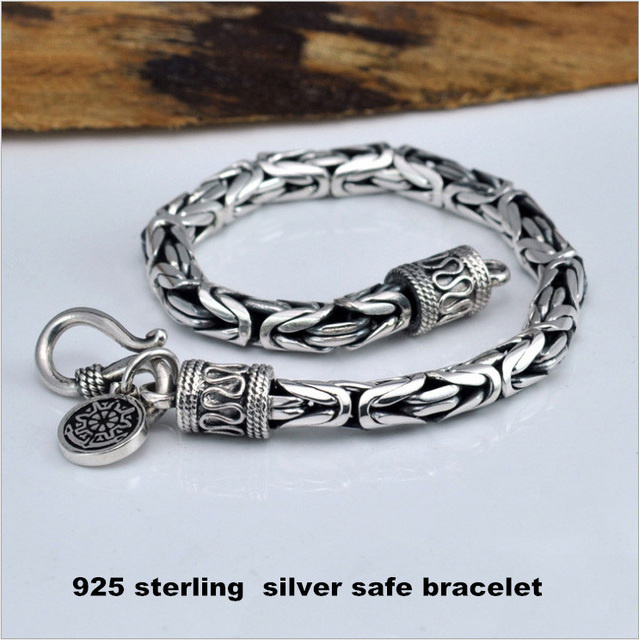 Vintage Thai silver bracelets 4-7mm 925 Sterling Silver Bracelet for Men cool Men jewelry Fine Jewelry HYB4