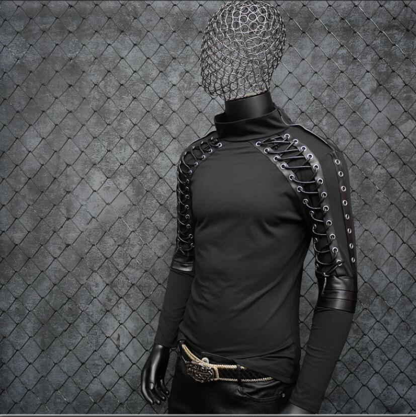 Disfraces de Punk rock para hombres cantante delgada Camiseta de manga larga diseño vendaje estiramiento hip hop club nocturno jóvenes tide ropa de cantante - 2