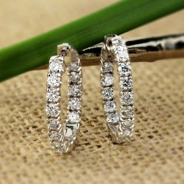 AEAW Big Size Solid 14K White Gold Moissanite Hoop Earrings for Women 2.5CTW 3mm F Color Moissanite Diamond Earrings