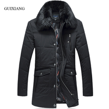 New arrival winter style men boutique parkas business casual detachable hair collar men solid thick jacket coat large size L-6XL