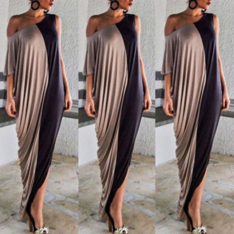 Женское летнее вечернее платье пляжное Лоскутное Длинное Макси платье