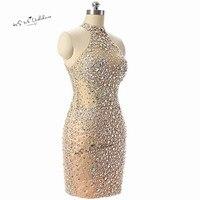 Feestjurken Sexy Champagne Krótkie Koktajlu Robe de Cocktail Party Dress Tank Kryształy Skromne Sukienki Homecoming 2018 Otwórz Wróć