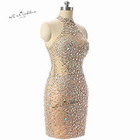 Robe de Cocktail Feestjurken Sexy Champagne Short Cocktail Party Dress Tank Crystals Modest Homecoming Dresses 2018 Open Back