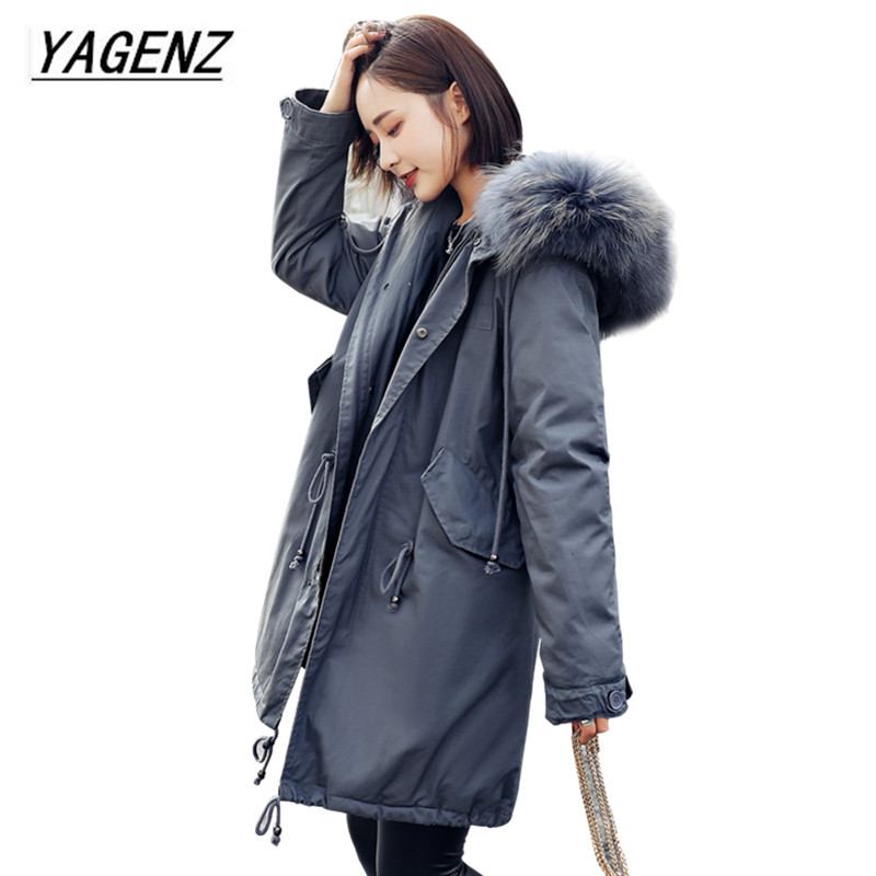 High-grade Big Fur collar Down cotton Winter Jacket Women Hooded Coats Slim Mrs Parkas Thick Long Overcoat 2017 Casual Jackets large size winter parkas women hooded jacket coats korean loose thick big fur collar down long overcoat casual warm lady jackets