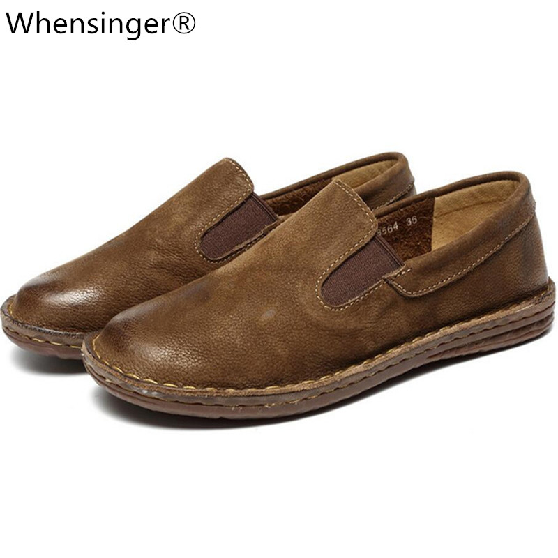 Whensinger - 2018 New Women Shoes Genuine Leather Round Toe Flats Slip-On Design 8564 Casual sneakers womens flat shoesWhensinger - 2018 New Women Shoes Genuine Leather Round Toe Flats Slip-On Design 8564 Casual sneakers womens flat shoes