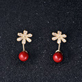 South Sea Shell Earring,2014 new famous fashion brand,with South Sea Shell, Flower,  detachable & micro pave cubic zirconia, red