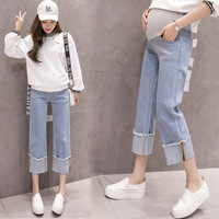 Pregnant women's jeans, wide legged pants, stretch cotton slim, loose bottoms, 9 minute pants ropa mujer maternity pregnancy
