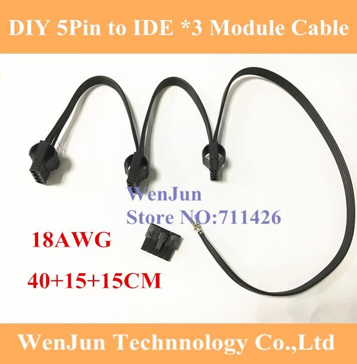 DIY 5Pin PCI-E к 3 * IDE Molex 4pin модульный блок питания Кабель-адаптер для сезонной серии KM3/сезонная SS-620GM/V850