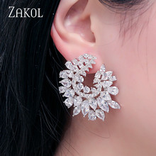 ZAKOL Luxury Brand Design Fashion Cubic Zircon Stud Earrings Sparking Crystal Bridal Wedding Jewelry for Elegant Women FSEP630