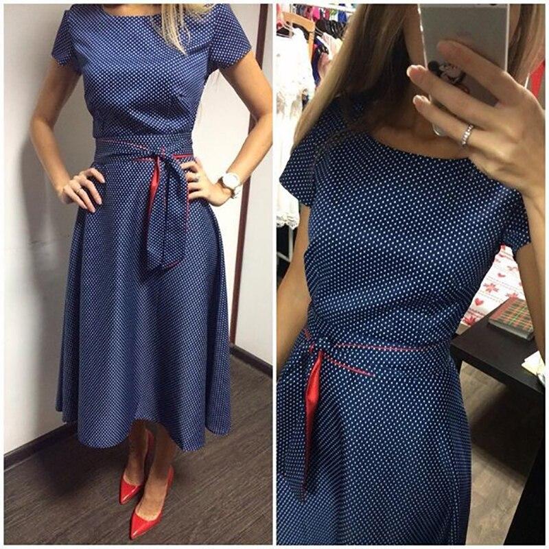 2018 Summer Dress Polka Dot Vintage Dress Short Sleeve Sexy Women Midi Dress Casual Party Dresses  Plus Size GV173 1