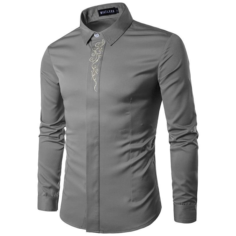 6 ColorsMen Uzun Kollu Gömlek Yaz Moda Marka Erkek Giyim Slim Fit - Erkek Giyim - Fotoğraf 3