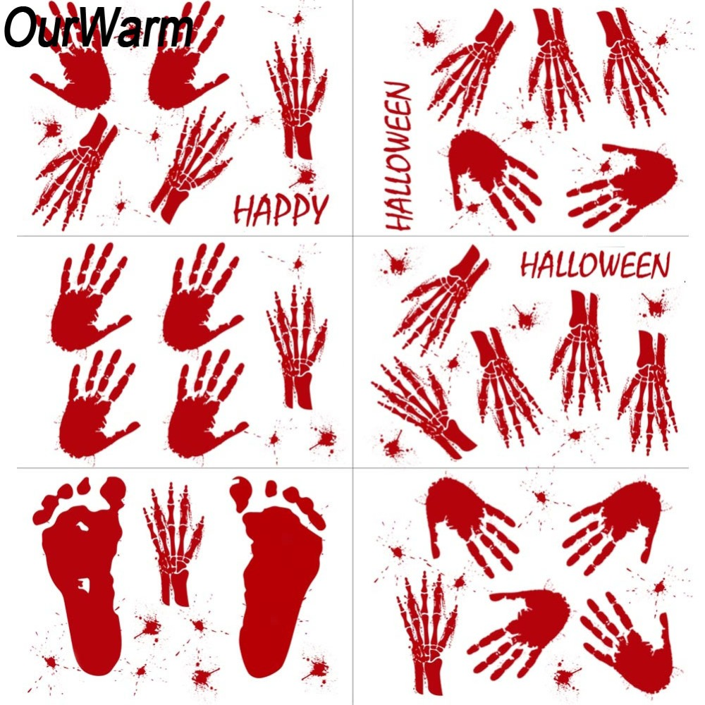 OurWarm Halloween Decoration Horror Bloody Handprint Footprint ...