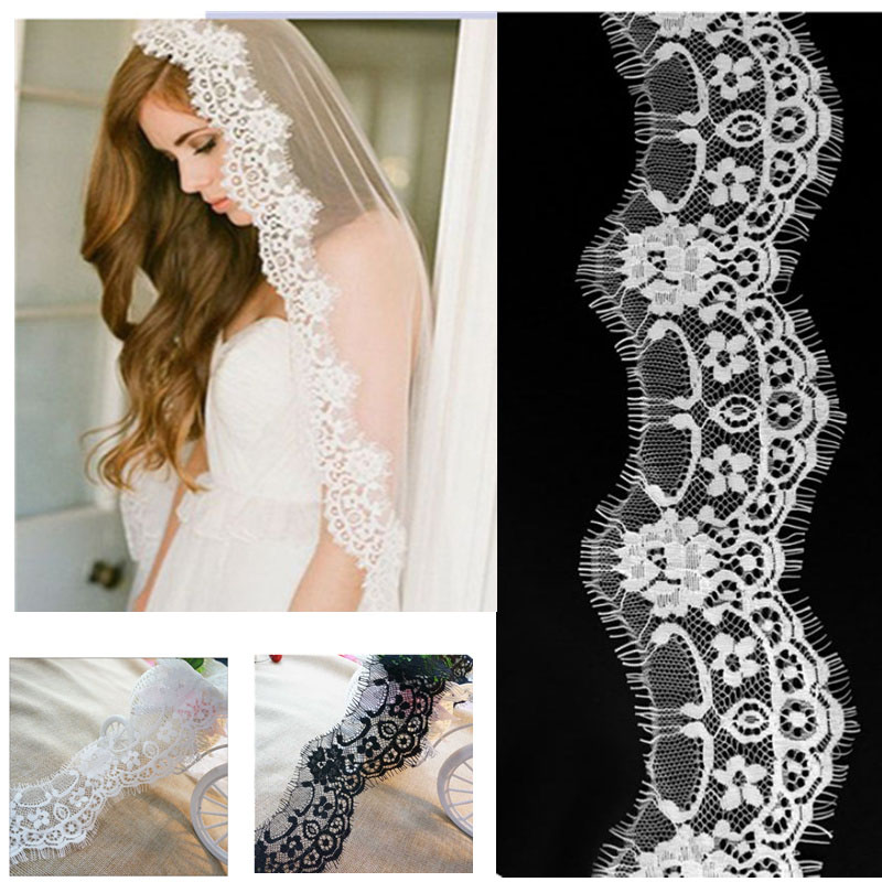 3Meter lot 7cm Wide Black White Lace Fabric DIY Trim Wedding Decoration Sewing Clothing Applique Eyelashes Lace Ribbon in Lace from Home Garden