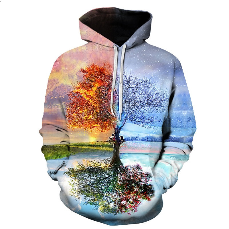 Psychedelic Star Hoodie Colorful Painting Scenery 3D Hoodies Women/Men Casual Hooded Sweatshirt Outerwear size S-6XL
