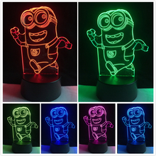 New Fashion Lovely 7 Color Changing Colorful Illusion Running Minions Touch Night Light Toy Lamp Friend & Children Gift Lighting