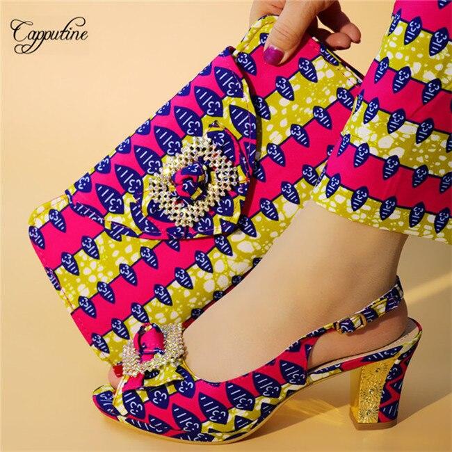 Beau mariage/fête africaine haut talon coton cire design sandale chaussures et sac à main ensemble A7628, hauteur du talon 9.3cm