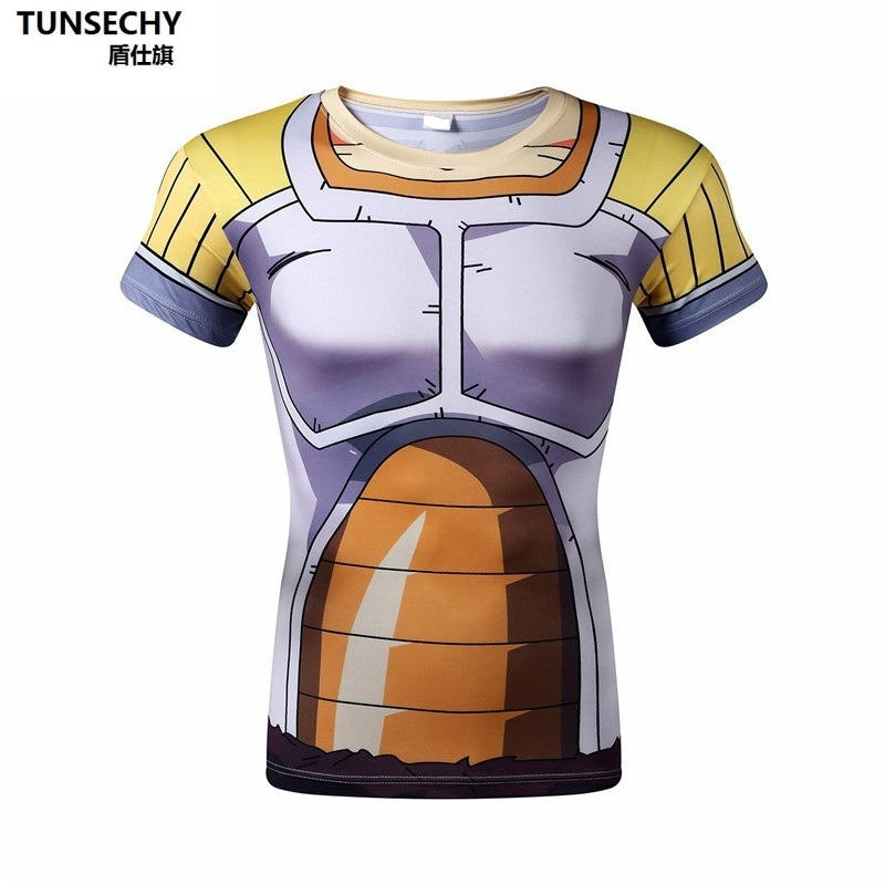 Character Print T-Shirt Fashion Casual Fitness Cool O-neck Men's T Shirt Summer Short Sleeve Men Clothing Dragon ball armor