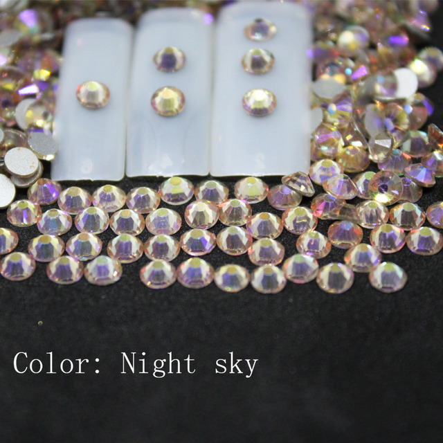 SS3-SS34 Night sky Rhinestones Back Flat Round Nail Art Decorations And Stones  Non Hotfix Rhinestones Crystals for DIY Glass 2f78b680dfc2