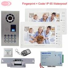 Home Intercom Wired 7″ TFT Video Doorphone IP65 Waterproof Fingerprint Code With Intercom For an Apartment + Electronic lock Kit