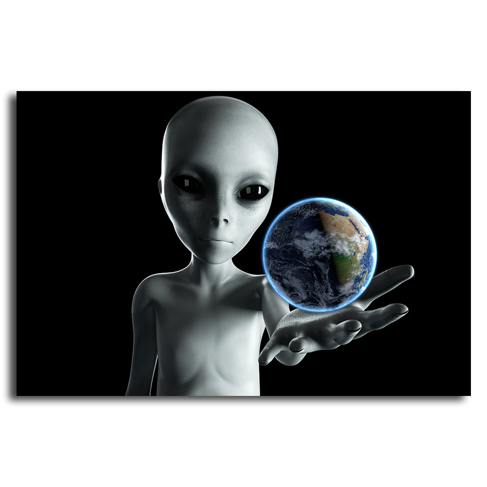 Alien hand reaching out with Earth planet. UFO futuristic concept. 3d rendering.