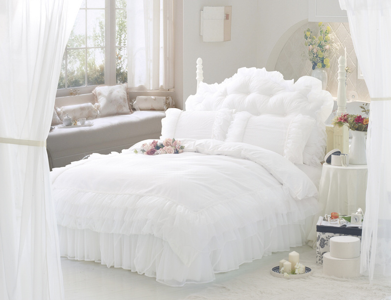 white ruffle lace princess bedding set full queen size quilt duvet cover set bed skirt linen. Black Bedroom Furniture Sets. Home Design Ideas