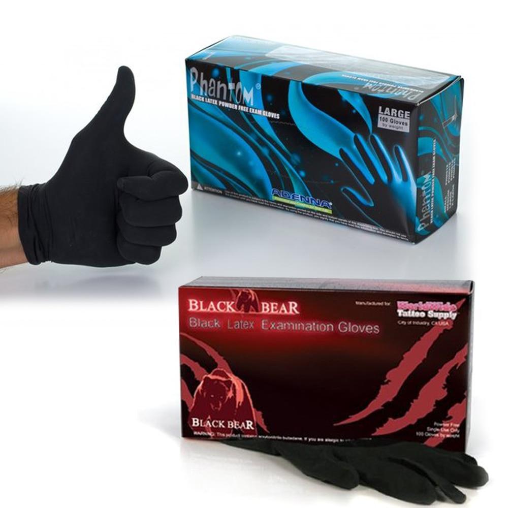 Professional Tattoo Black Latex Gloves Powder Free