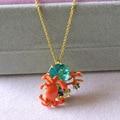 Les Nereides New Crab Gem Pendant Necklace For Women Good Quality Enamel Gold Copper New Style