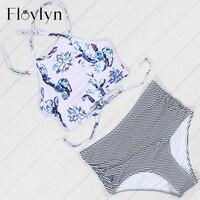 Floylyn Cross Bandage Bikini Set 2017 New Swimwear Women High Waist Swimsuit Summer Swim Wear Striped
