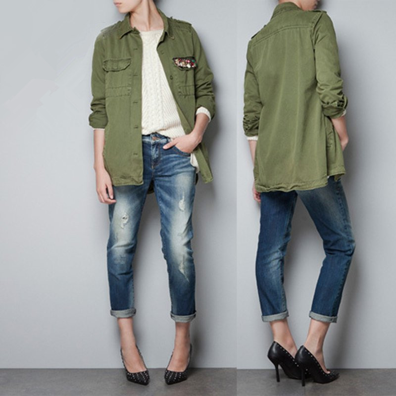 Popular Womens Green Army Style Jacket-Buy Cheap Womens Green Army ...