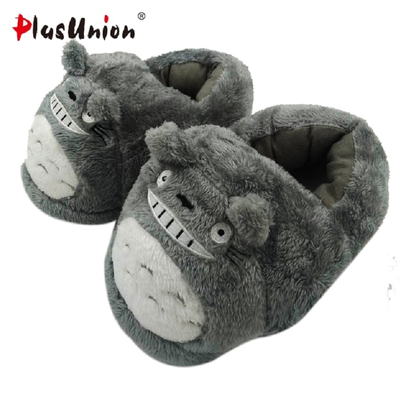 cartoon cute totoro indoor slippers unisex plush winter house warm shoes adult women animal furry fluffy rihanna slipper home hot adult warm cartoon cut slippers indoor winter animal flat furry fenty house women slipper with faux anime plush men shoes
