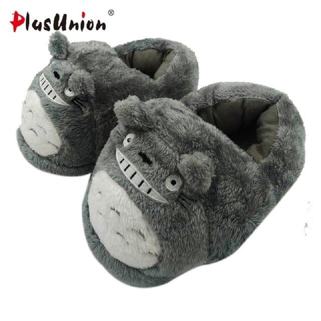 7f78c9619f5e cartoon cute totoro indoor slippers unisex plush winter house warm shoes  adult women animal furry fluffy rihanna slipper home