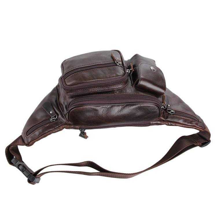 Vintage genuine leather waist packs fanny pack Fashion men small travel bag Pocket sports waist wallet  for men Free shipping (5)