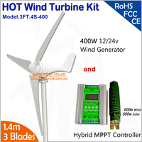 Wind Generator Special Kit, 400W AC Wind Turbine with 1200w MPPT wind solar hybrid controller for Home Hybrid Power System