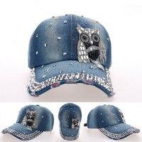 Wuaumx Hot Sale Brand Baseball Hat Cap Fashion Women OWL Drill Pointed Denim Rhinestones CAPS Unisex Sun Hat Drop shipping