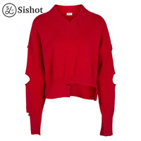 Sishot Women Casual Knitwear 2017 Autumn Winter Red Plain Loose Mini Long Sleeve Sexy Hollow V