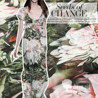 Customized 150cm width pink green floral flower Chiffon satin silk cotton gauze Cloth Fabric Shirt coat scarf blouse Headdress