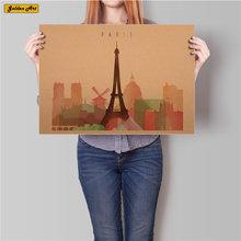 París de la ciudad de Londres viajes Vintage cartel retro pared arte Etiqueta de imagen de la pintura de la barra de cafetería pub decoración 45.5x31.5cm