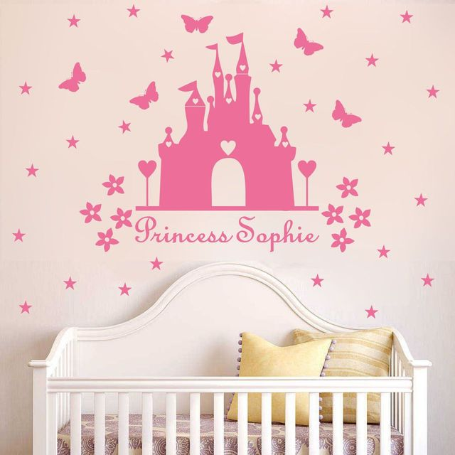 W340 Princess castle WALL sticker with personalised name kids room decor Vinyl wall DECAL nursery room & W340 Princess castle WALL sticker with personalised name kids room ...